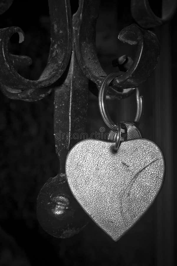 在篱芭的心脏钥匙链 免版税库存照片
