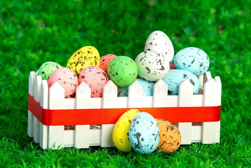 在篱芭箱子的色的鸡蛋 免版税库存图片