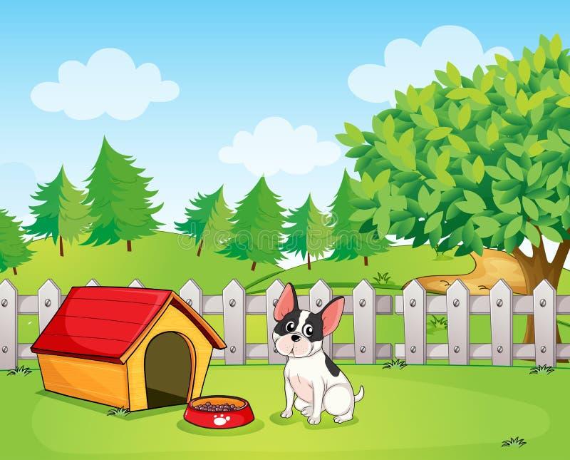 在篱芭里面的一条小狗 皇族释放例证