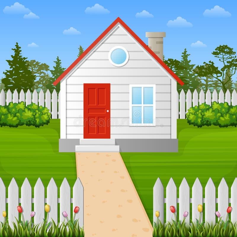 在篱芭里面的动画片木房子 库存例证