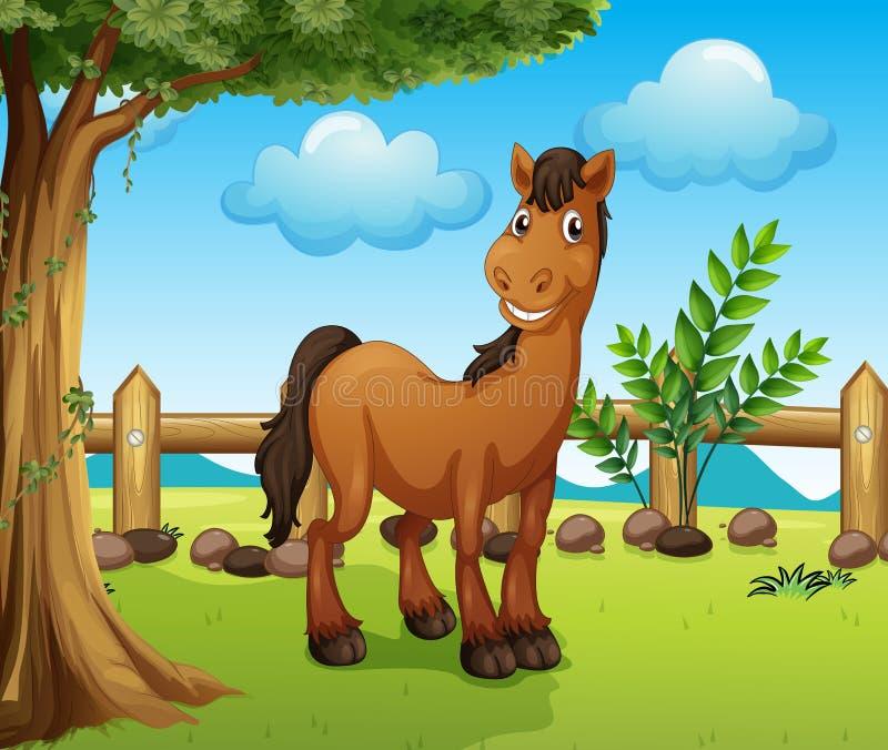 在篱芭里面的愉快的棕色马 向量例证