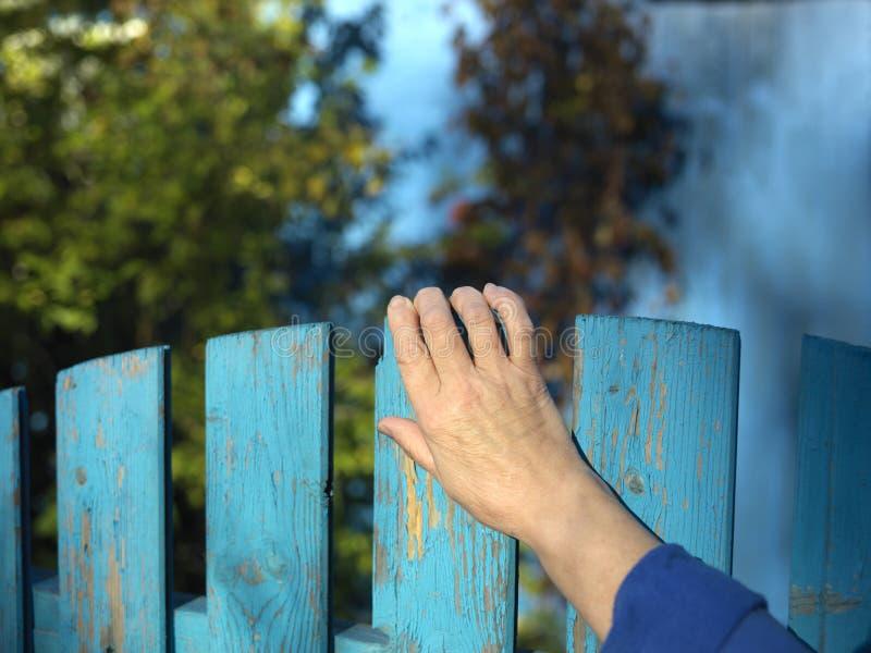 在篱芭门的手 库存图片