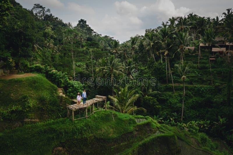在米大阳台附近结合在木桥的身分在巴厘岛印度尼西亚 ?? r E 免版税图库摄影