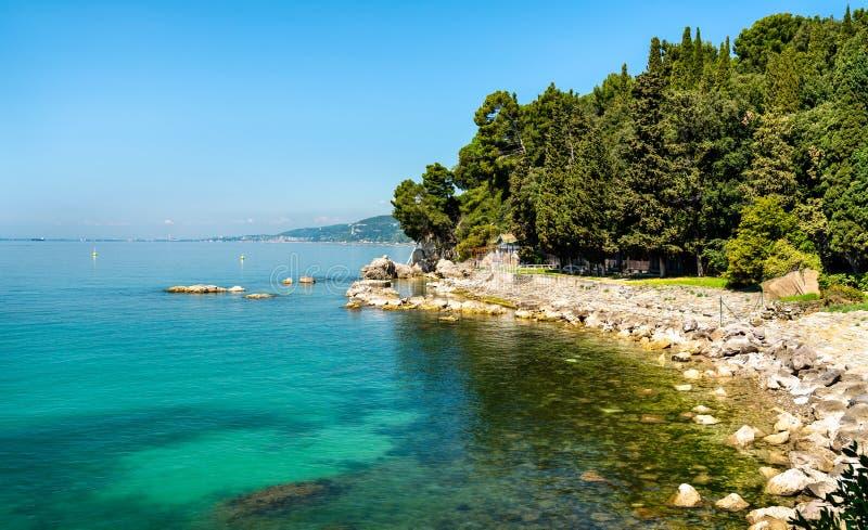 在米拉马雷城堡城堡-的里雅斯特,意大利海湾附近的海滩  库存照片