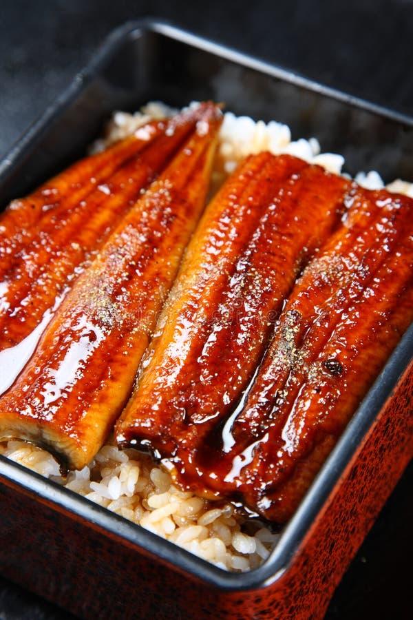 在米的被烤的鳗鱼 免版税库存照片