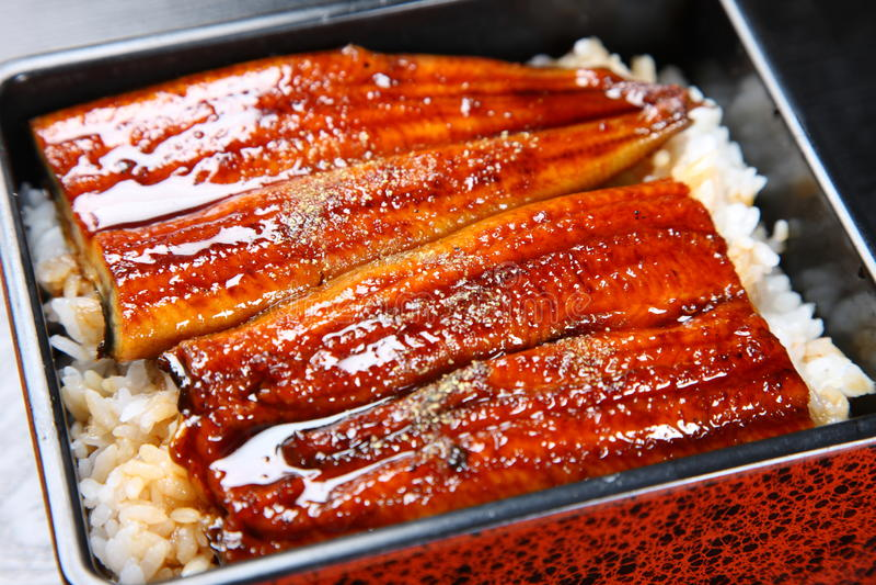 在米的被烤的鳗鱼 免版税库存图片