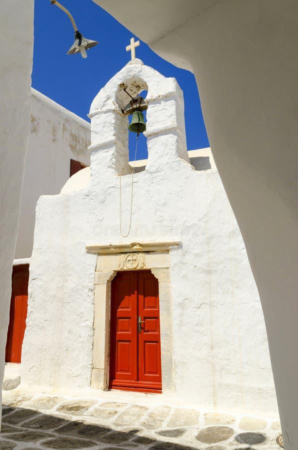 在米科诺斯岛海岛,基克拉泽斯,希腊上的老镇 库存照片