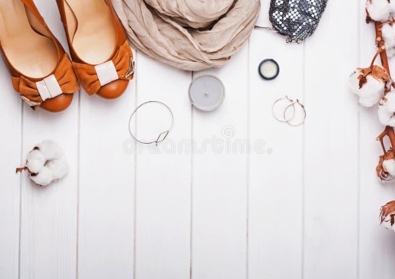 在米黄和棕色颜色的时髦的女性辅助部件 免版税库存照片