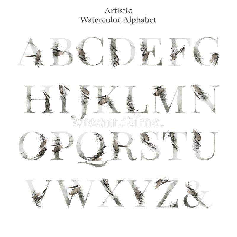 在米黄树荫下设置的抽象字体 拉丁的海报大写字母 艺术性的水彩剧本字体 印刷术 向量例证