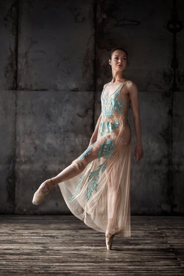 在米黄礼服的年轻美丽的跳芭蕾舞者 库存图片