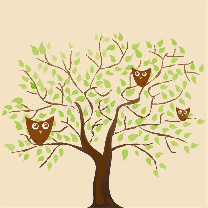 在米黄背景传统化了植物和许多传染媒介猫头鹰,欢乐咖啡并且留下样式 向量例证