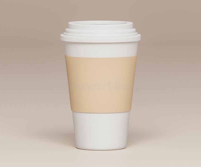 在米黄背景- 3D的白皮书杯子例证 向量例证