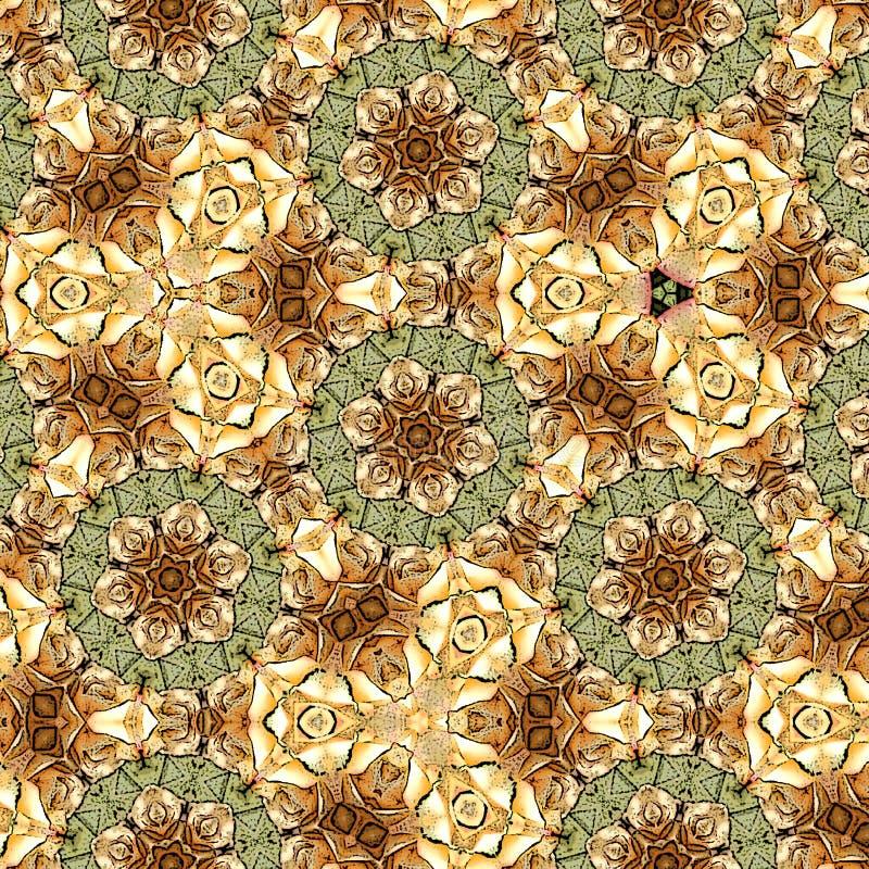 在米黄颜色的抽象几何花迷离背景卡片 库存例证