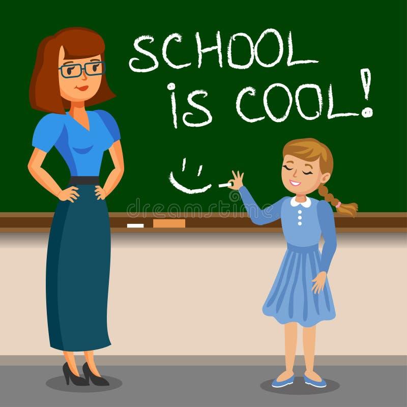 在粉笔板的老师和女小学生文字 回到学校 库存例证