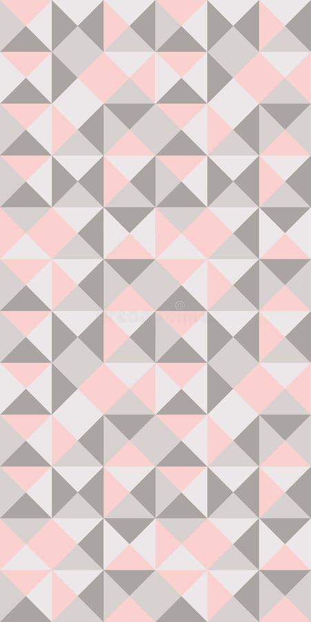 在粉红彩笔和浅灰色的无缝的样式的偶然三角 皇族释放例证