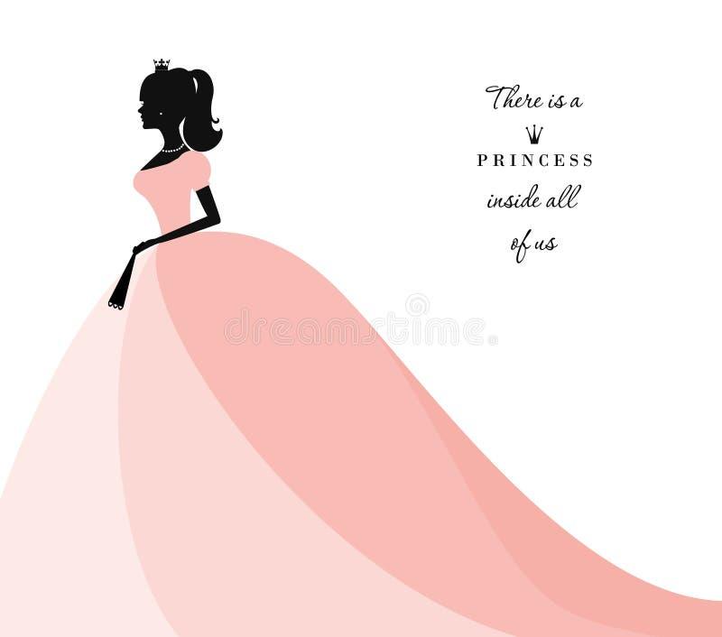 在粉红彩笔礼服的美丽的公主剪影 在白色 能为新娘阵雨邀请使用 库存例证