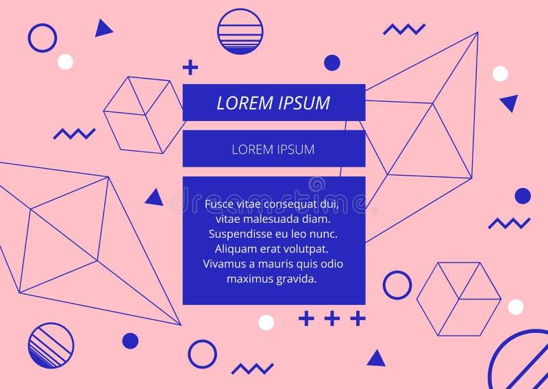 在粉红彩笔背景的最小的蓝色几何形状摘要 向量例证
