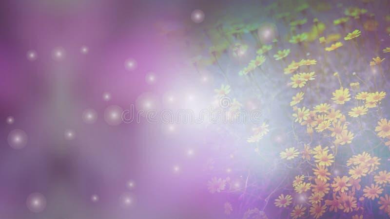 在粉红背景作用的黄色花在葡萄酒口气 免版税库存照片