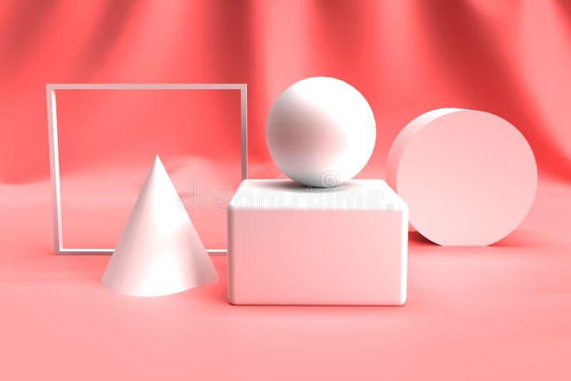在粉色背景的抽象3D几何形状集合 假装和广告的介绍概念 秀丽和化妆概念 库存例证
