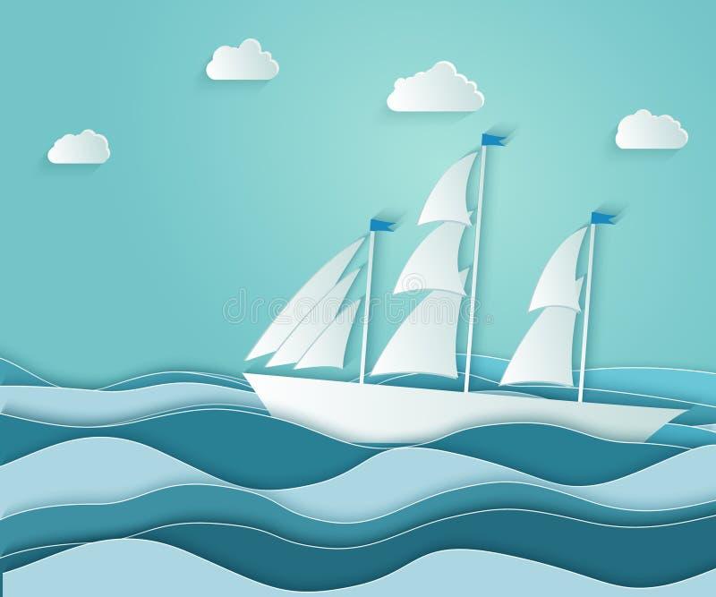 在粗砺的海洋的风船浮游物有波浪的 b的标志 库存例证
