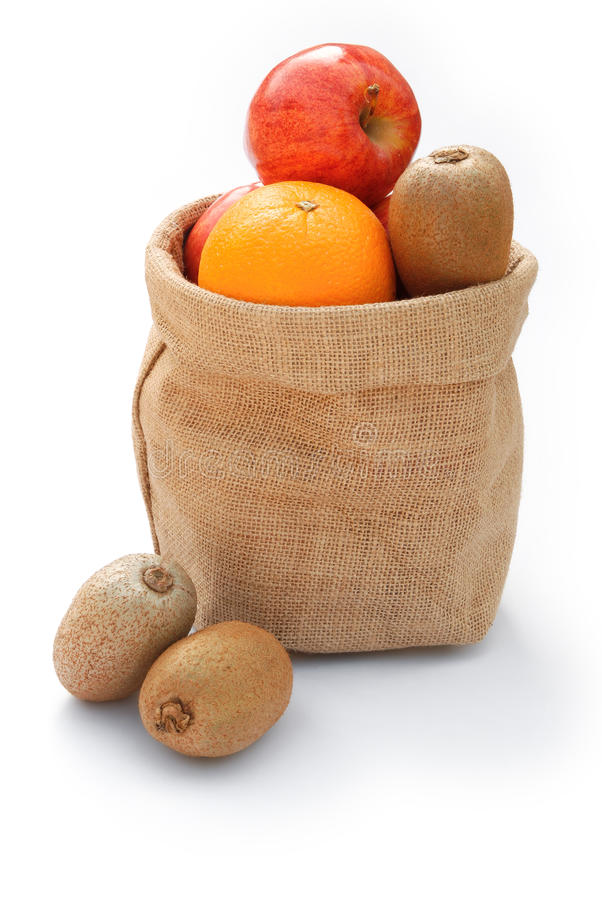 在粗麻布袋子的果子 图库摄影
