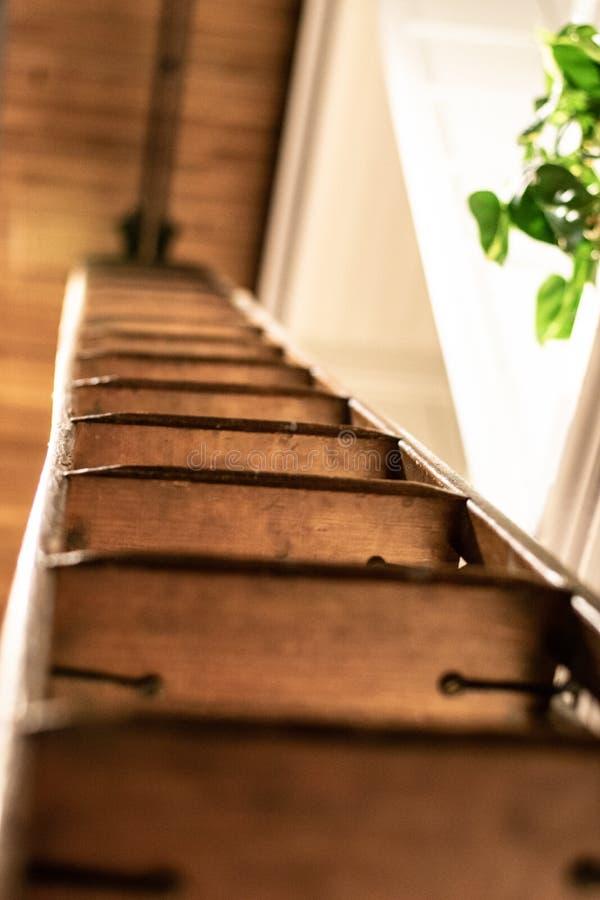 木梯子细节 免版税库存照片