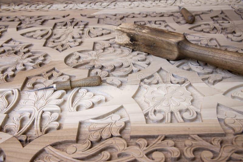 在精心制作的门的木工具 免版税库存照片