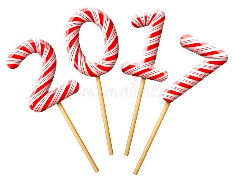 在糖果形状的新年2017年在木棍子的 皇族释放例证