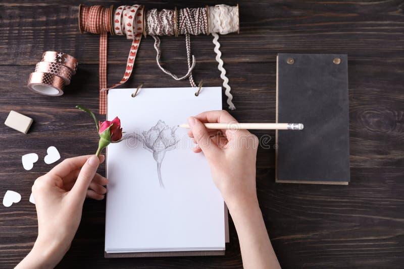 在素描便笺簿的妇女图画美丽的玫瑰 图库摄影