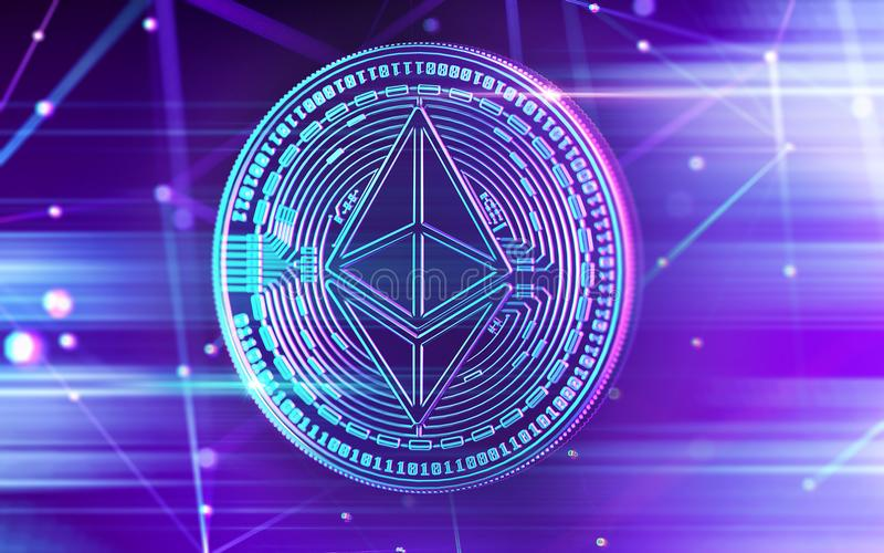 在紫外颜色的霓虹发光的Ethereum等硬币与cryptocurrency blockchain结在模糊的背景中 3d翻译 库存例证