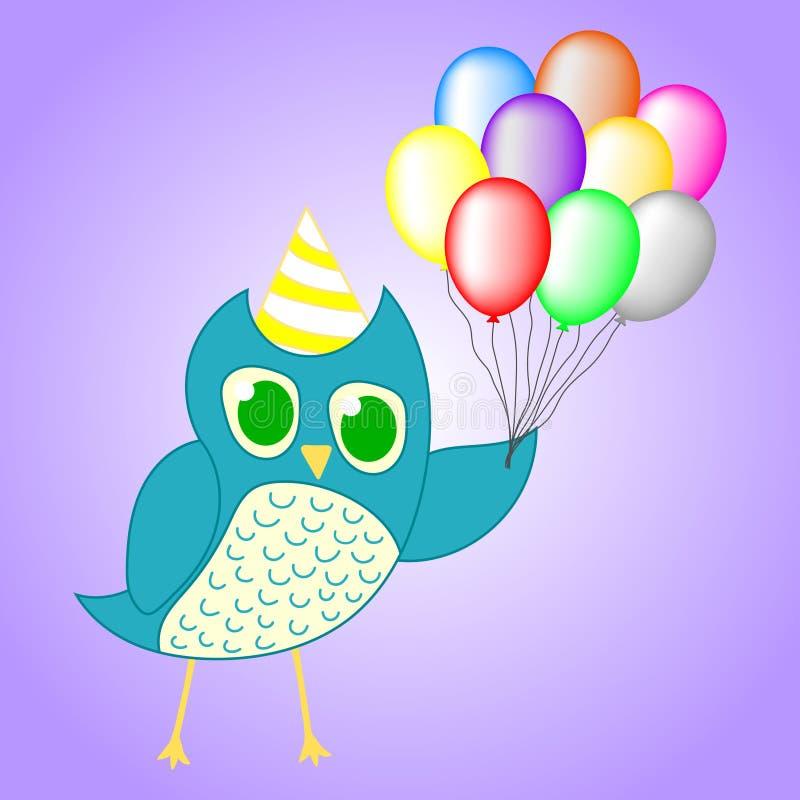 在紫罗兰色背景生日宴会设计的逗人喜爱的蓝色猫头鹰隔绝的 您的设计的传染媒介例证,比赛,卡片 皇族释放例证