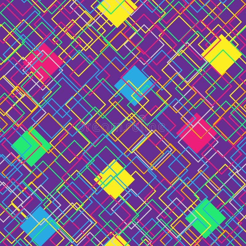 在紫罗兰色背景的五颜六色的无缝的样式 与颜色正方形的现代概念 抽象几何形状 向量 向量例证
