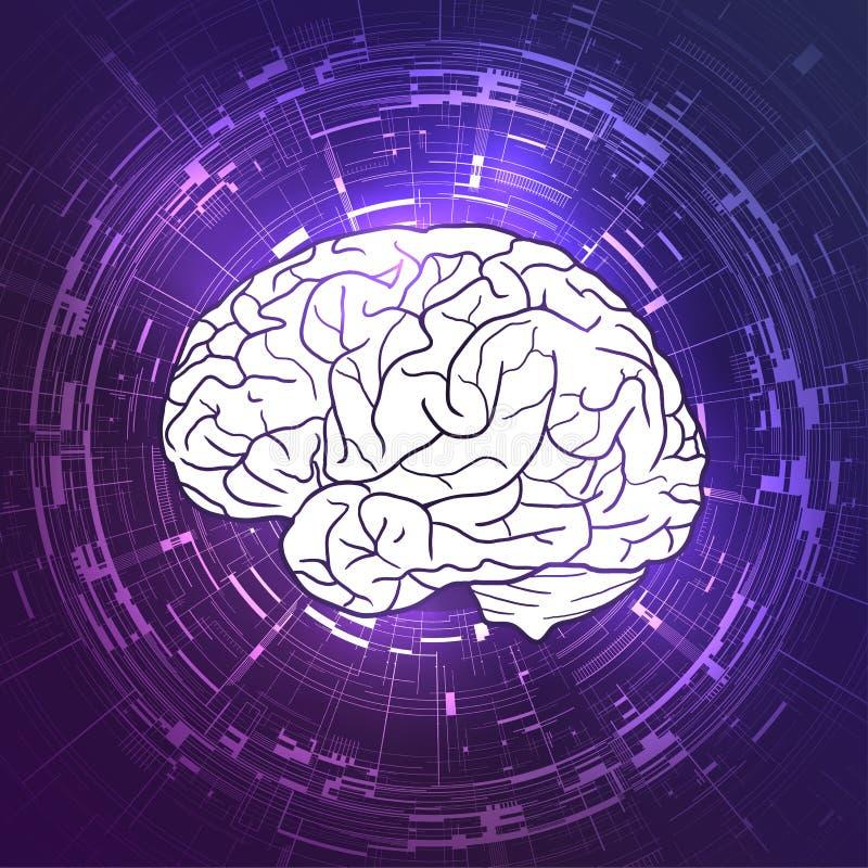 在紫罗兰色techno背景的人脑 显示,通信 向量例证