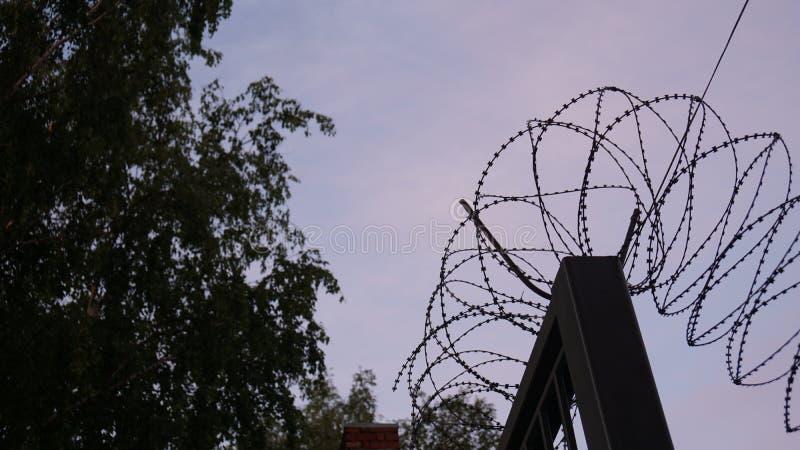在紫色天空日出的背景的铁丝网 免版税库存图片