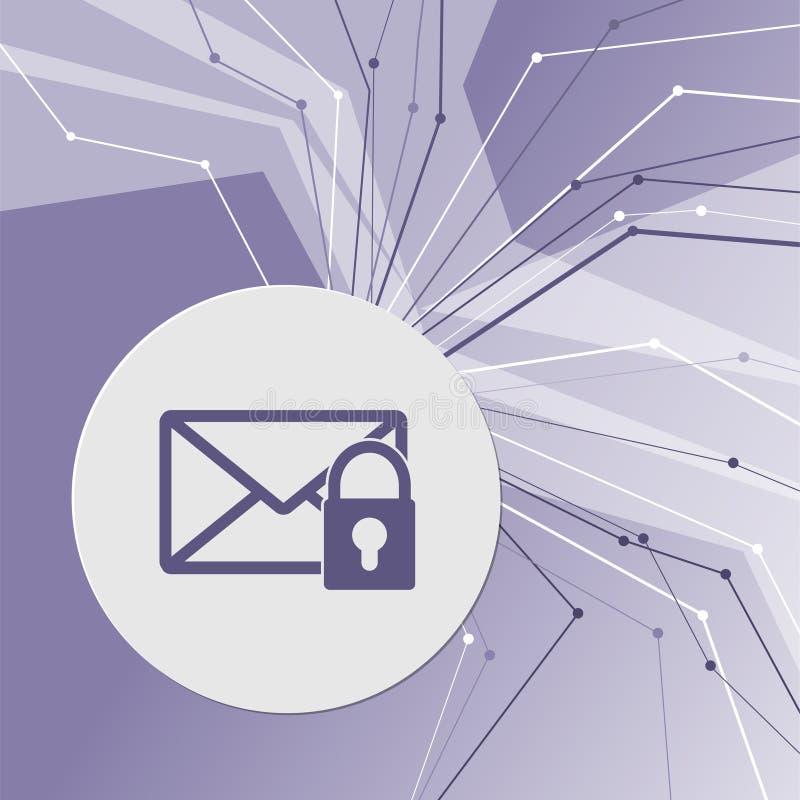 在紫色抽象现代背景的秘密邮件象 线四面八方 您的广告的室 向量例证