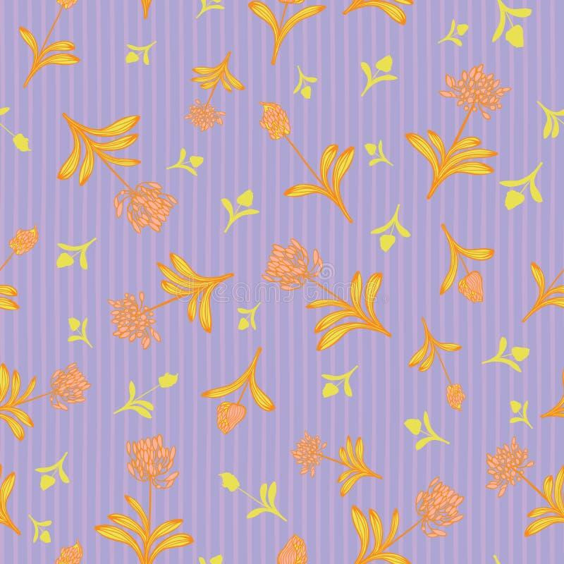 在紫色条纹背景夏天花卉无缝的传染媒介样式的桃红色橙色lilly非洲人花织品的 向量例证