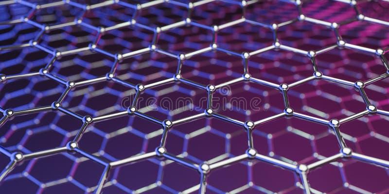 在紫色桃红色背景的Graphene分子纳诺技术结构- 3d翻译 向量例证