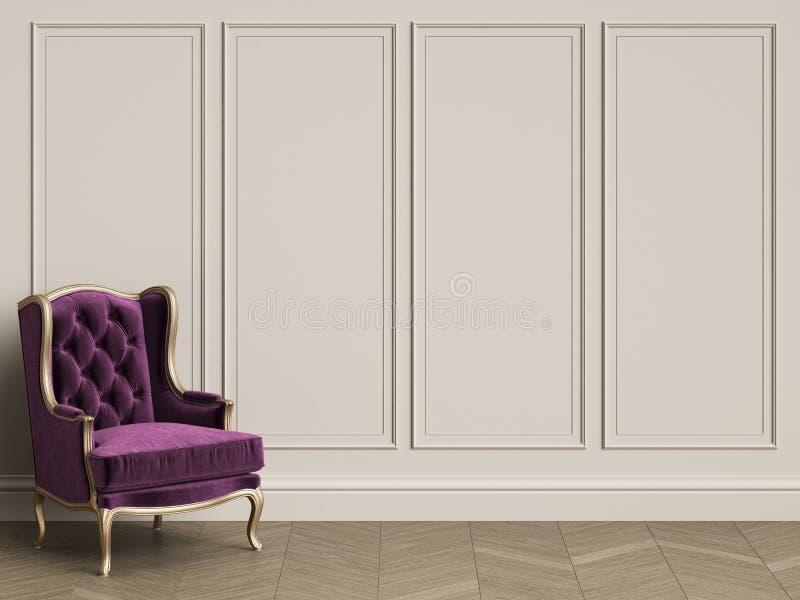 在紫色的经典在经典内部的椅子和金子与拷贝s 向量例证