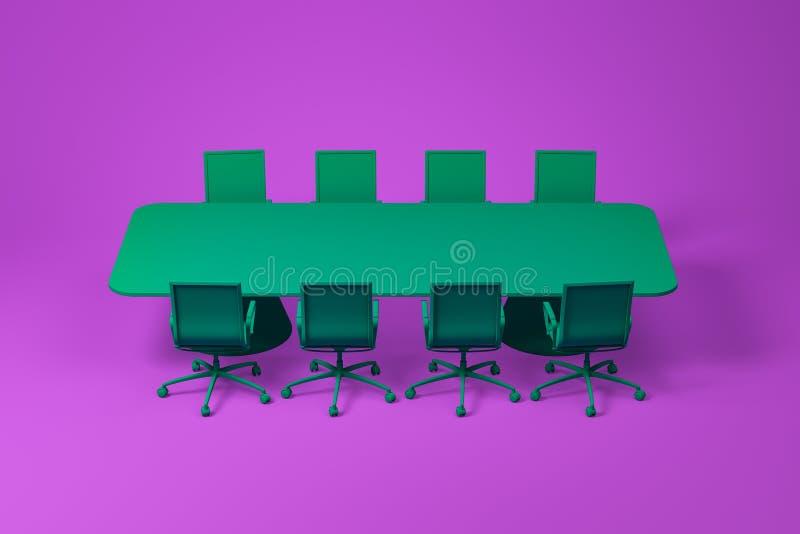 在紫色的绿色候选会议地点家具集合 免版税图库摄影