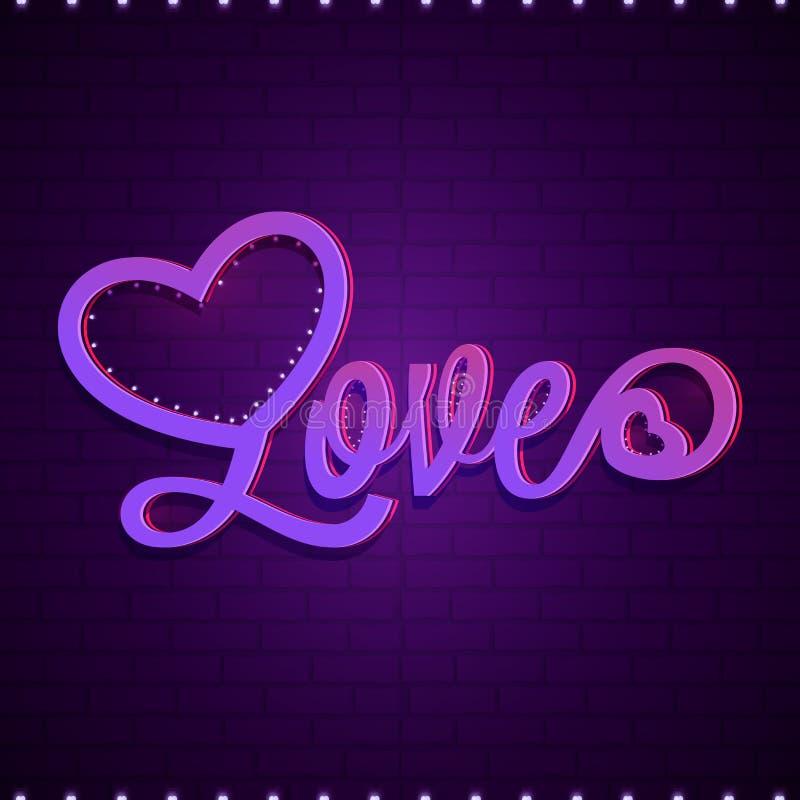 在紫色砖墙背景的发光的文本爱 皇族释放例证