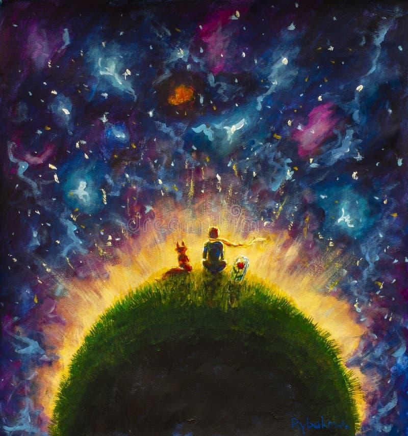 在紫色空间的小王子发光的绿色行星 免版税库存图片
