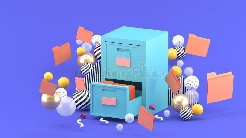 在紫色背景的五颜六色的球围拢的文件内阁 库存例证