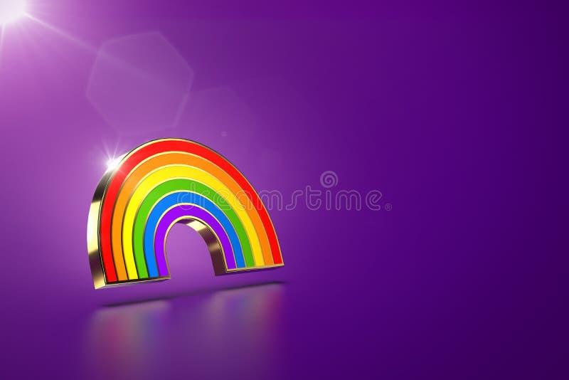 在紫色背景的盘旋的彩虹标志 LGBT平等权利运动和男女平等概念 在的拷贝空间 库存例证