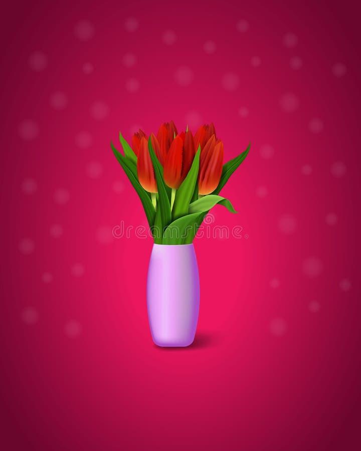 在紫色背景的红色郁金香 红色郁金香花束在花瓶的 r 皇族释放例证