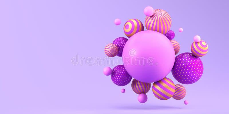 在紫色背景的许多飞行的镶边球 E 库存例证