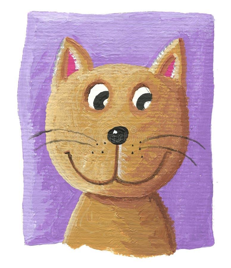 在紫色背景的逗人喜爱的猫 向量例证