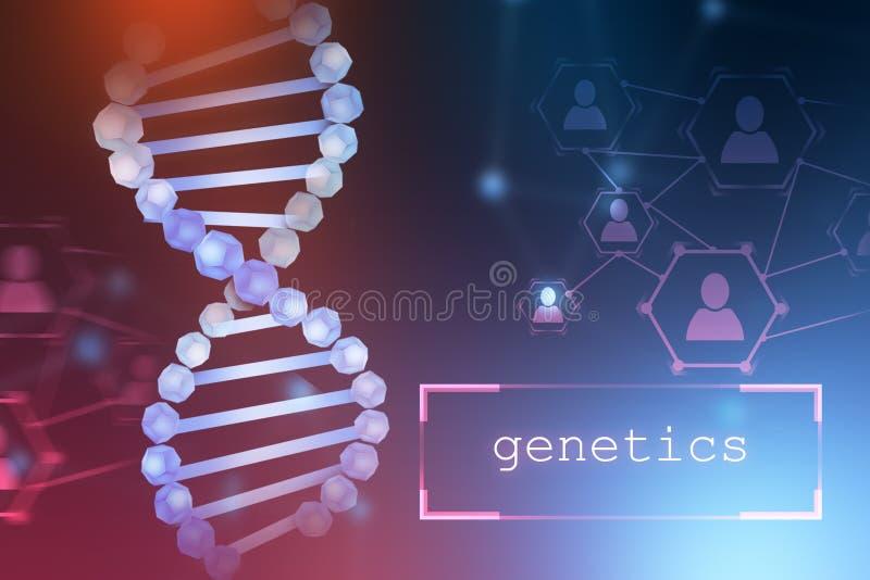 在紫色蓝色的蓝色脱氧核糖核酸螺旋,词遗传学 皇族释放例证
