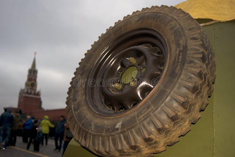 在红场显示的第二次世界大战的军用设备在莫斯科 免版税图库摄影