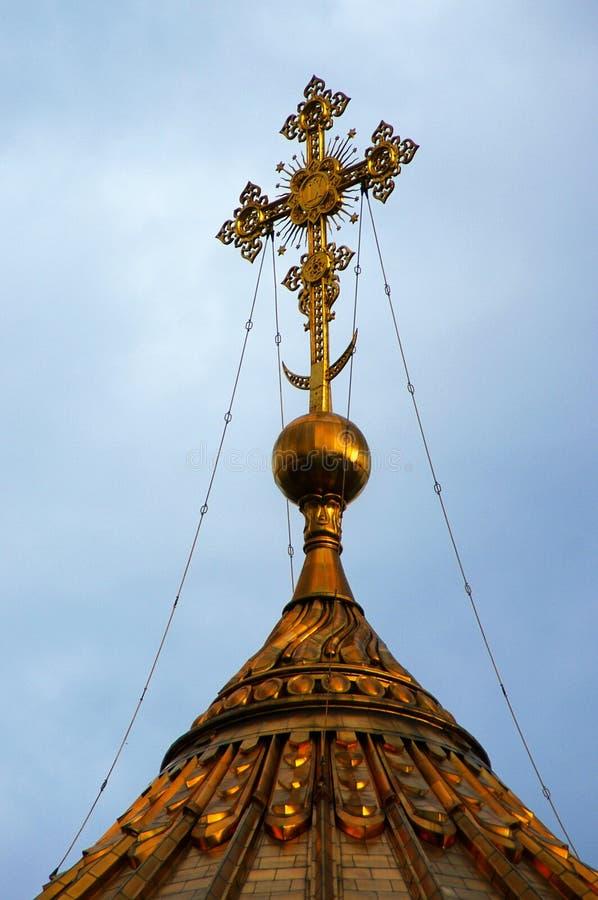 在红场的十字架,莫斯科,俄罗斯 库存照片