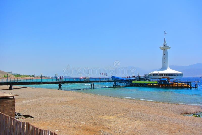在红海的岸的著名埃拉特水族馆 以色列 库存图片